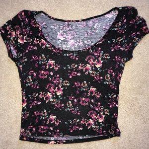 Tops - Black floral crop top
